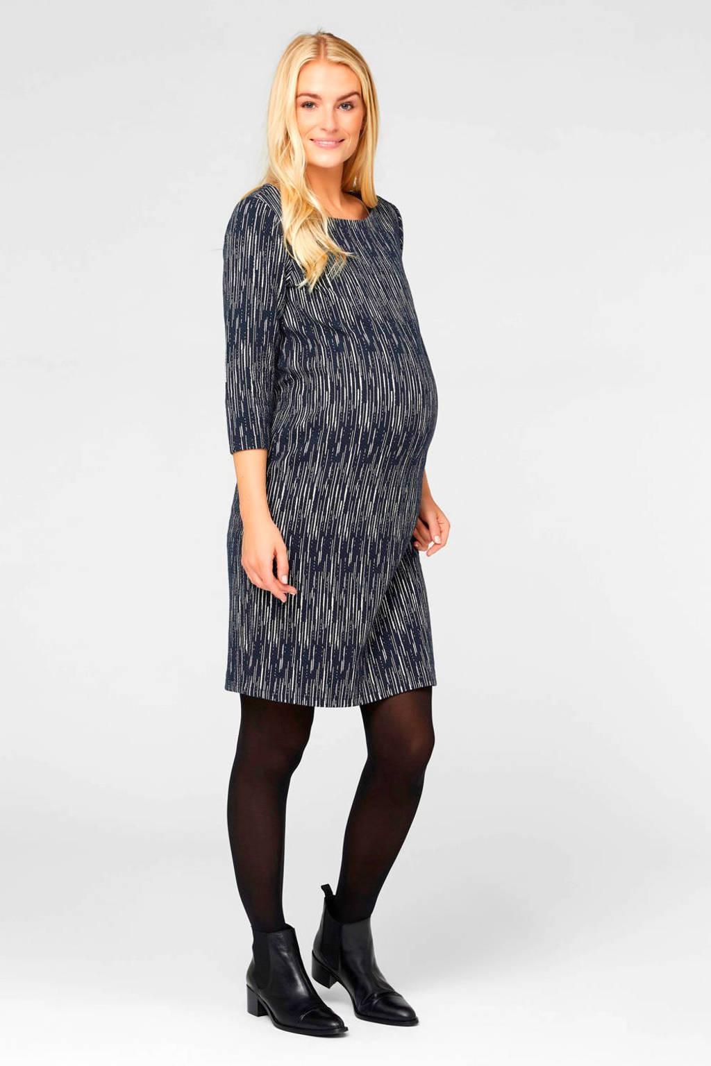 MAMALICIOUS zwangerschapsjurk met all over print donkerblauw/wit, Donkerblauw/wit