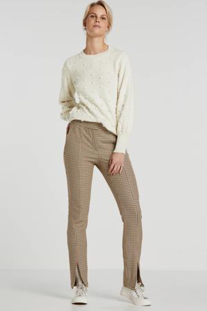 straight fit broek Sem met pied-de-poule bruin