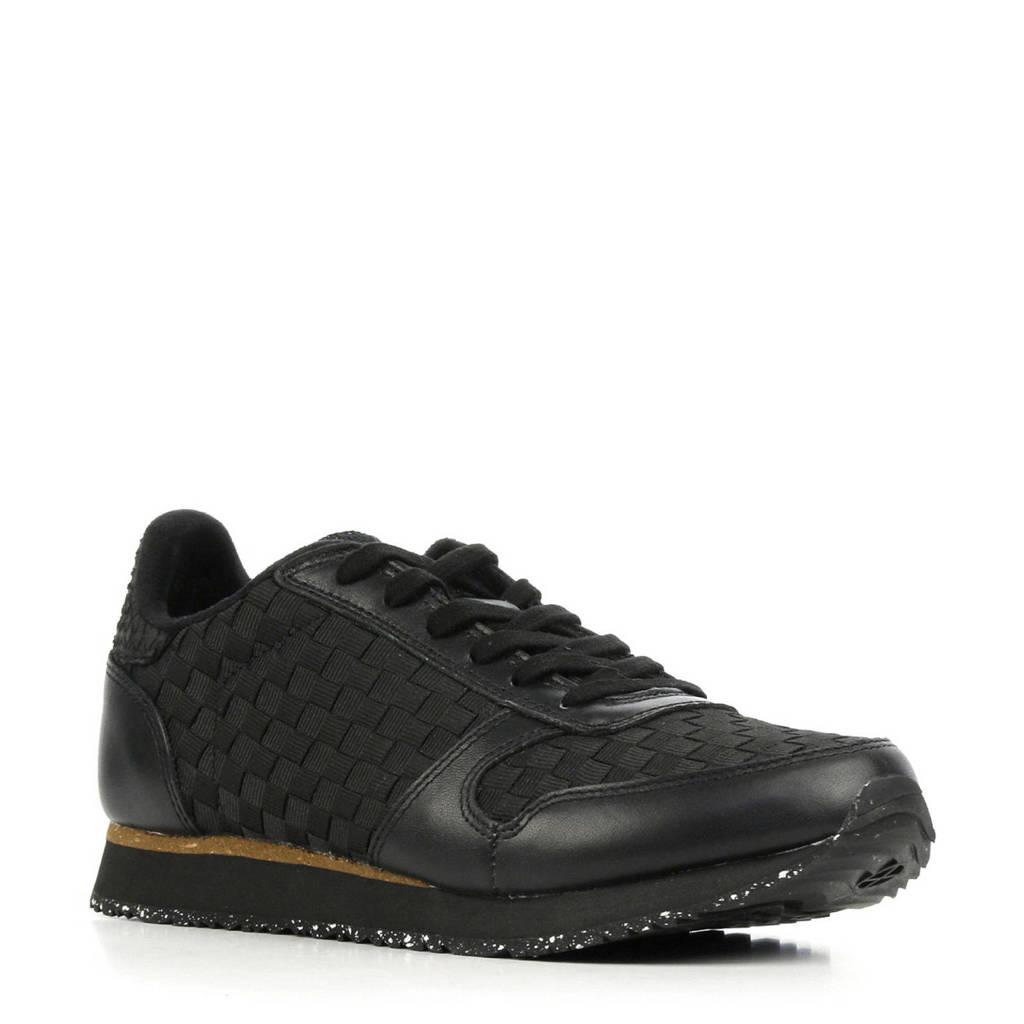Woden Ydun NSC  leren sneakers zwart, Zwart