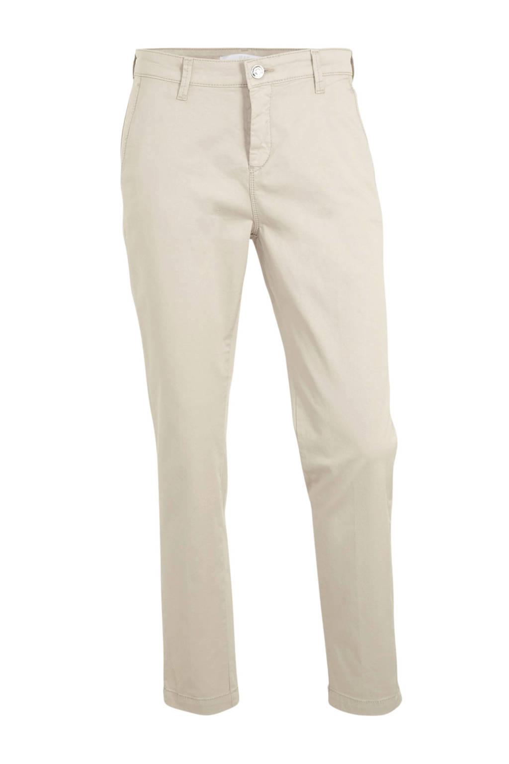 MAC high waist cropped chino van twill met persplooien licht beige, Licht beige
