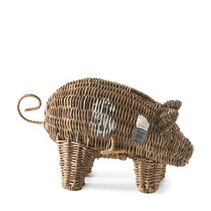 Rustic Rattan Piggy spaarpot