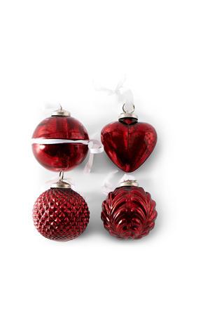 Happy Holiday kerstboomdecoratie rood 4 stuks
