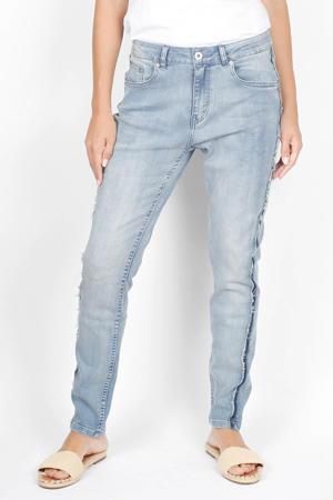 slim fit jeans Adelynn met zijstreep mid blue denim