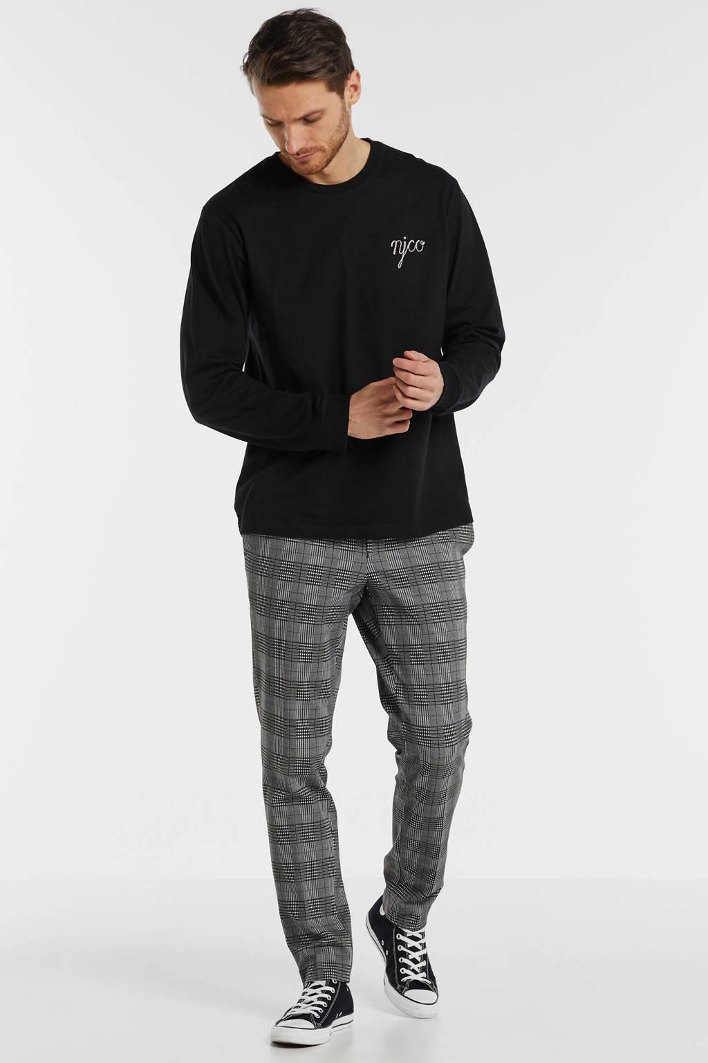 Nudie Jeans T-shirt met printopdruk zwart, Zwart
