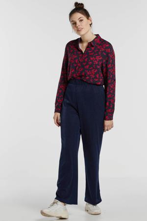 gebloemde blouse donkerblauw/rood/roze