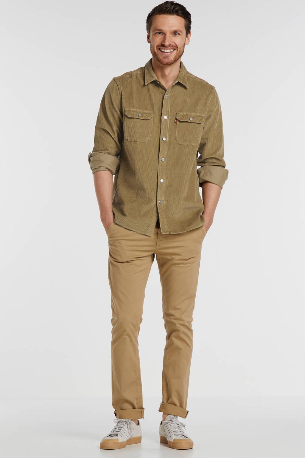 Nudie Jeans slim fit chino Adam met biologisch katoen bruin, Bruin