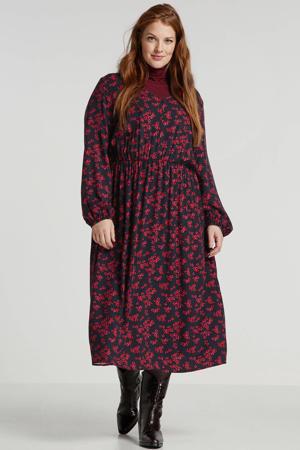 gebloemde maxi jurk blauw,rood,roze