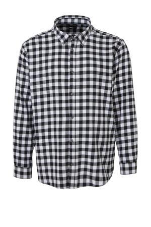 geruit slim fit overhemd zwart wit