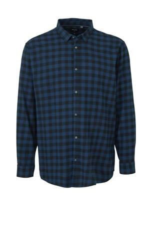 geruit regular fit overhemd blauw/zwart