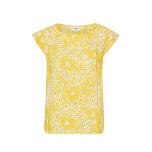 Saint Tropez gebloemde top Tisha geel/wit