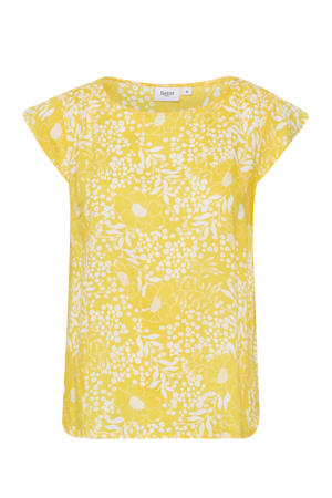 gebloemde top Tisha geel/wit