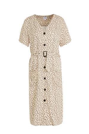 jurk Drea met stippen en ceintuur beige/zwart