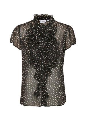 transparante blouse Lilly met stippen en ruches zwart