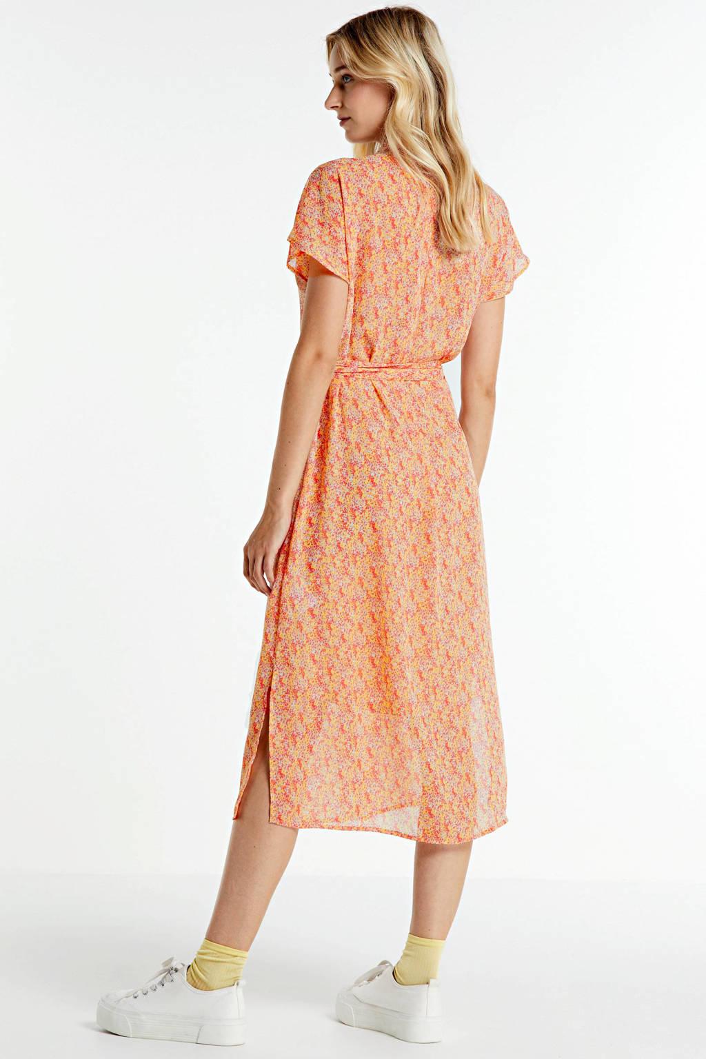 Saint Tropez gebloemde semi-transparante jurk, Beige/multi