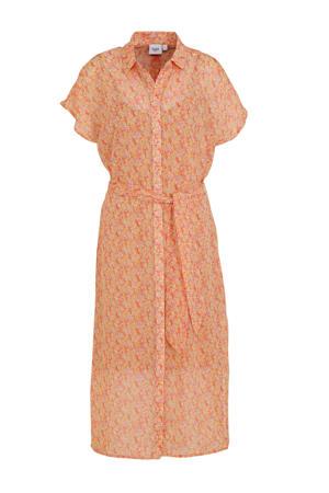 gebloemde semi-transparante kanten jurk Dea camel