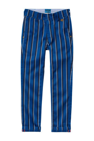 gestreepte slim fit broek Ceremony Sarlino blauw