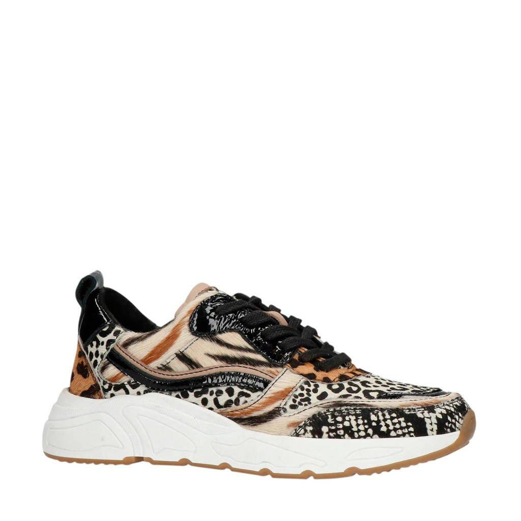 Manfield   suède sneakers dierenprint, Bruin/wit