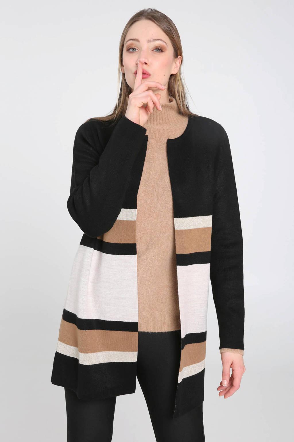 Cassis vest meerkleurig, Beige/zwart/wit