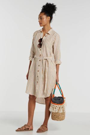 gestreepte linnen blousejurk Bondie ecru/bruin