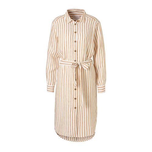 Part Two gestreepte linnen blousejurk Bondie ecru/