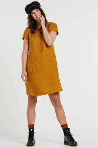 Part Two linnen jurk Aminas bruin, Bruin