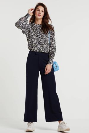 gebloemde blouse Barbette donkerblauw