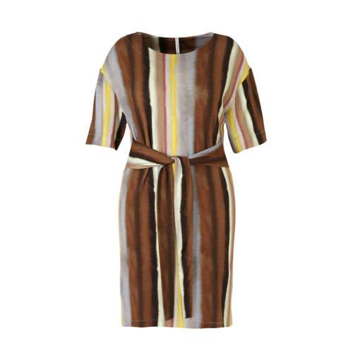 Summum Woman gestreepte jersey jurk bruin