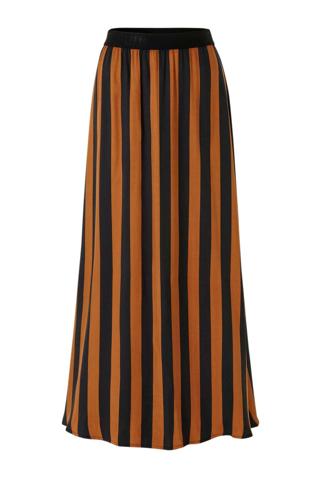 Summum Woman gestreepte rok zwart/oranje, Zwart/oranje