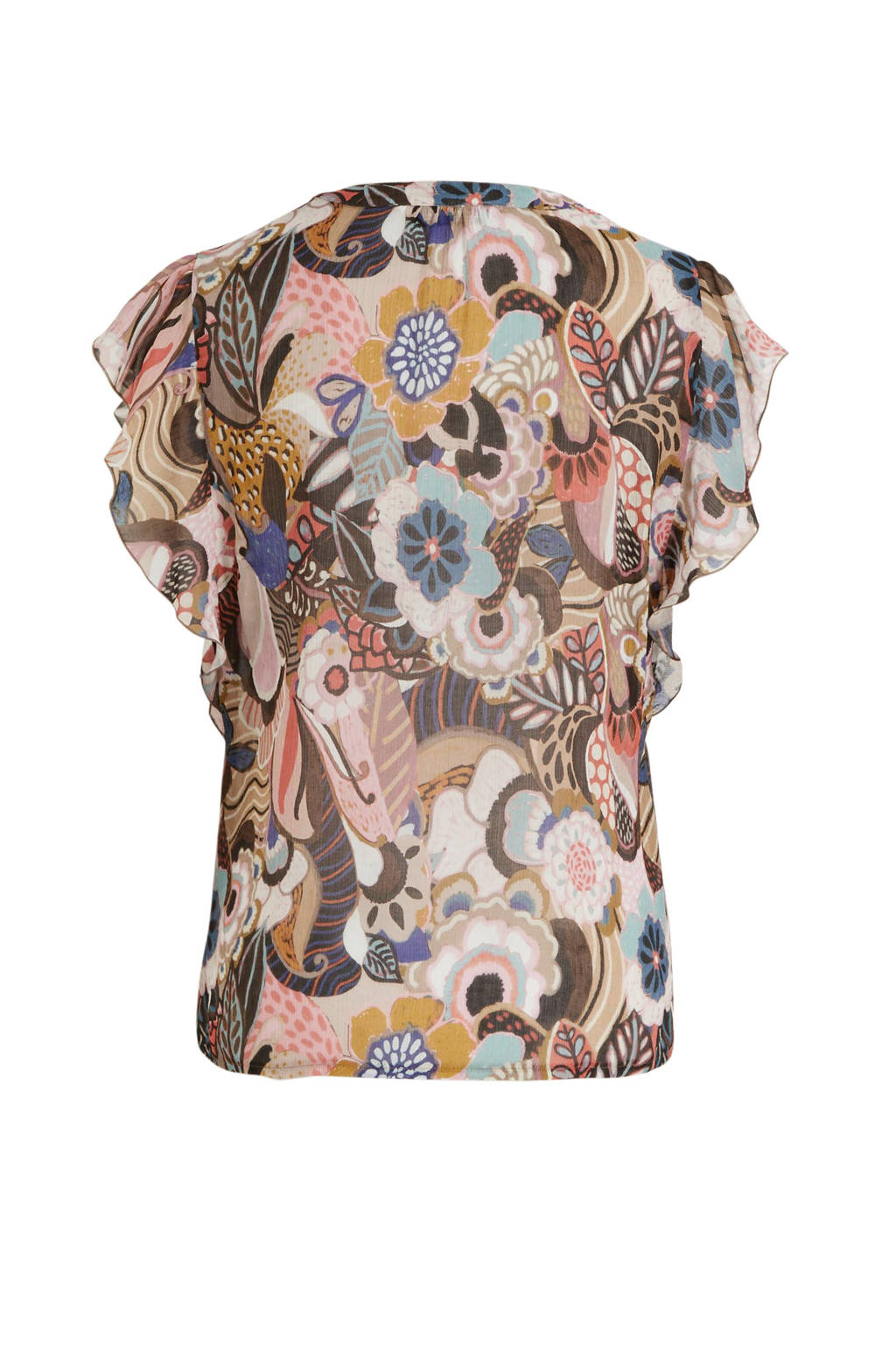 Summum Woman top met all over print en ruches multicolor, Multicolor