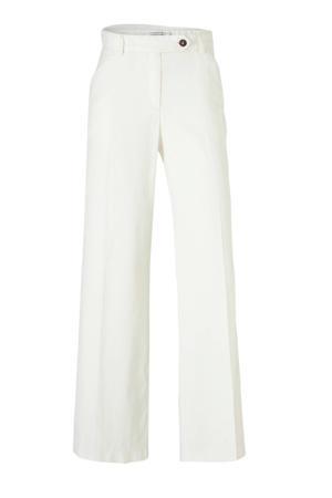 high waist loose fit broek met linnen wit
