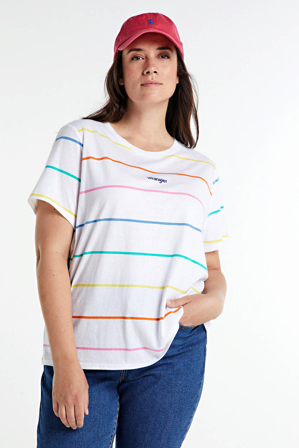 Wrangler Plus gestreept T-shirt wit/multi, Wit/multi
