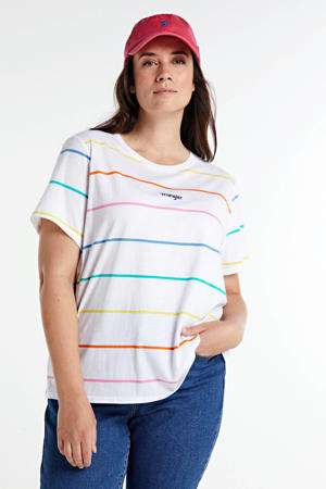 gestreept T-shirt wit/multi