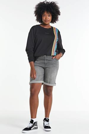 sweater met printopdruk zwart/multi