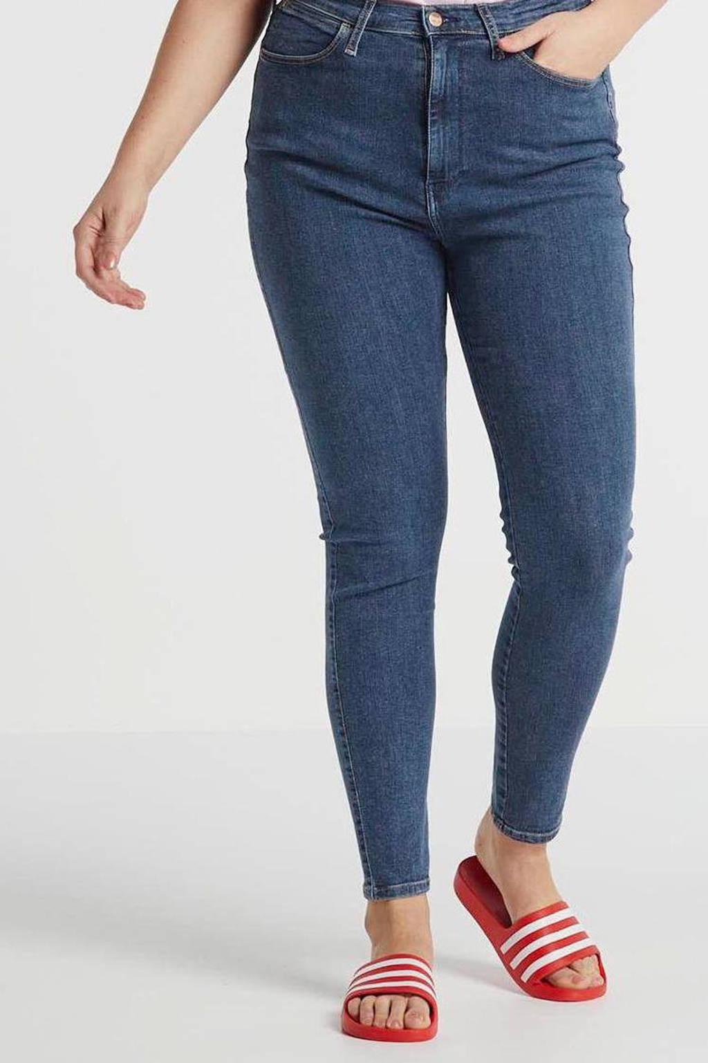 Wrangler Plus high waist skinny jeans blauw, Blauw