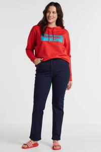 Wrangler Plus hoodie met logo rood/blauw, Rood/blauw