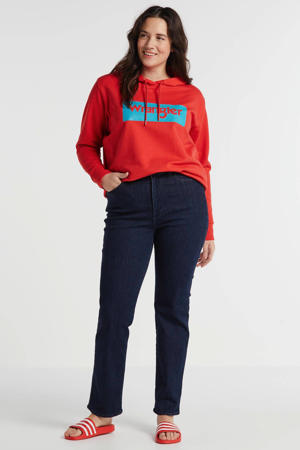 hoodie met logo rood/blauw