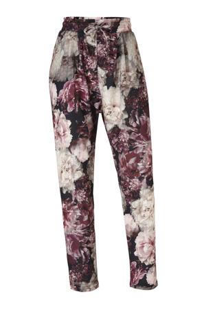 gebloemde high waist tapered fit broek Anja zwart/roze/wit