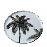 HKliving Bold & Basic ceramics bord (Ø22 cm), Zwart/wit