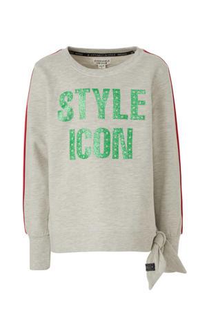 glittersweater met contrastbies grijs/groen