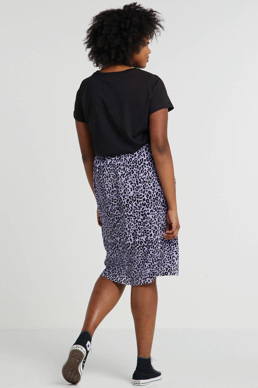 Adia plissé rok met panterprint lila/zwart, Lila/zwart