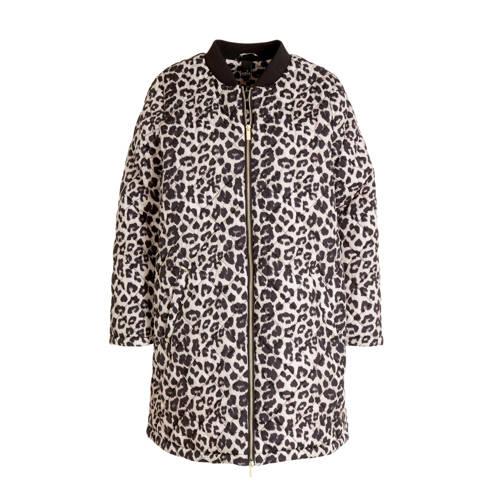 Adia gewatteerde jas met panterprint zwart/ecru/mu