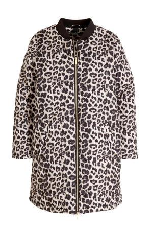 gewatteerde jas met panterprint zwart/ecru/multi
