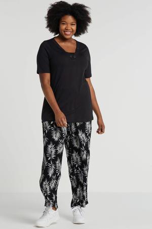 loose fit broek met bladprint zwart/wit
