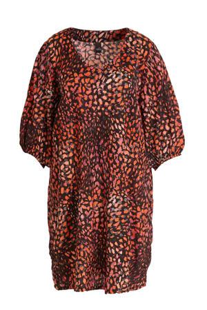 jurk met all over print rood/multi