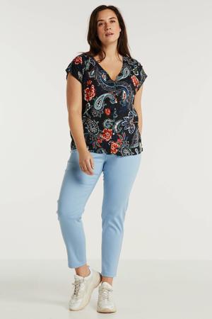 cropped regular fit broek lichtblauw