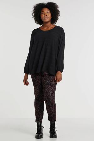 legging met panterprint zwart/donkerrood