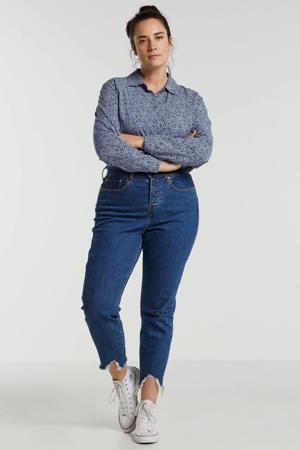 blouse met all over print lichtblauw/zwart