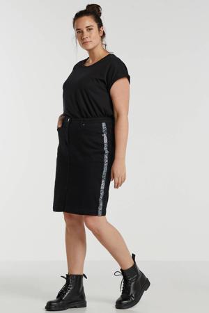 rok met contrastbies zwart