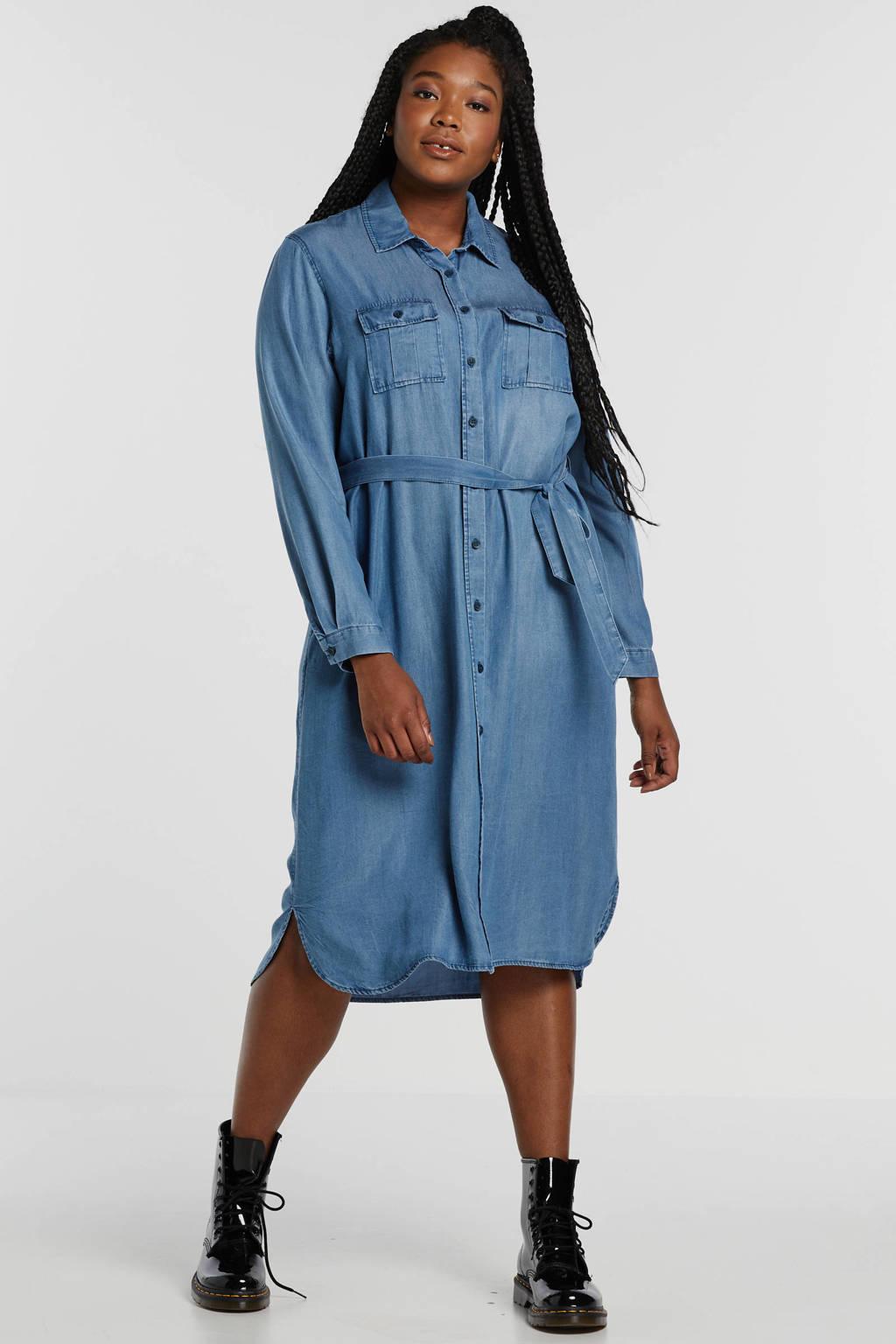 Yesta blousejurk met ceintuur blauw, Blauw