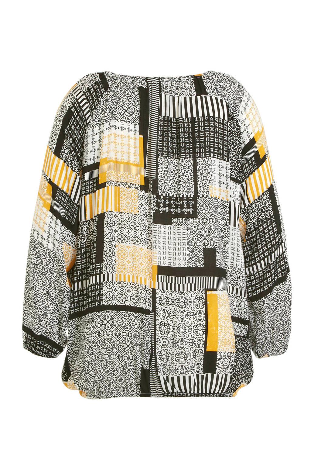 Yesta top met all over print zwart/geel/wit, Zwart/geel/wit